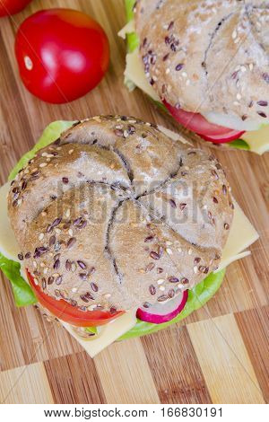 Tasty vegetarian wholemeal sandwich - top view