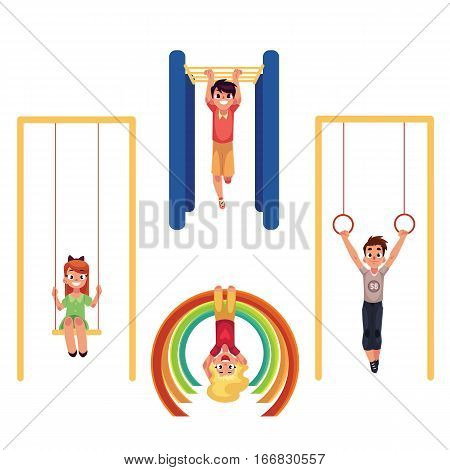Kids, children at playground, hanging and climbing on monkey bars, swinging on swings, cartoon vector illustration isolated on white background. Set of kids, children having fun at the playground