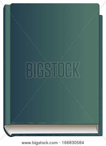 Closed book hardcover front cover. Isolated on white vector illustration