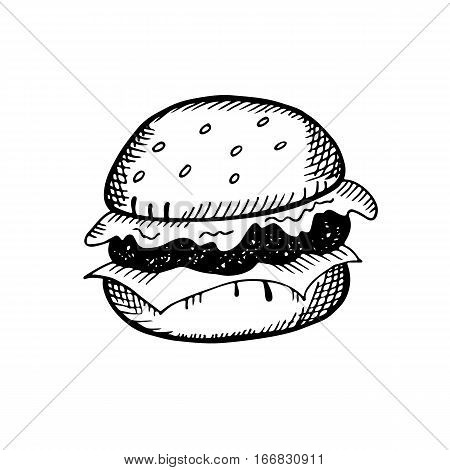 Hand drawn illustration of burger in the style of doodle a sketch. Vector illustration