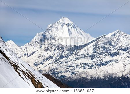 Mount Dhaulagiri view of mount Dhaulagiri from Thorung La pass with beautiful sky round Annapurna circuit trekking trail Nepal