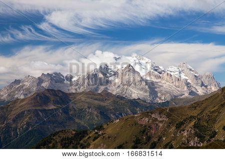 View of Marmolada the highest mount of Dolomites mountains Italy