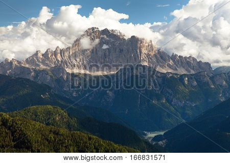 Evening view of Mount Civetta from Col di Lana - one of the best mouts in Italien Dolomites Alps mountains