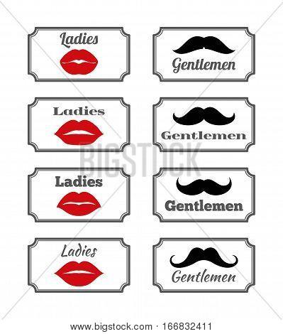 Ladies and gentlemen bathroom symbols. Vector lips and mustache. Hipster elements illustration