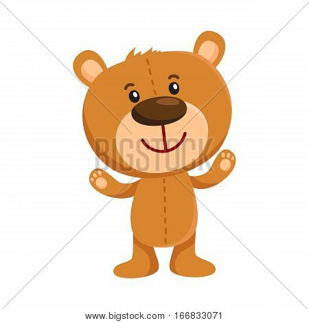 Cute traditional, retro style teddy bear character standing, smiling and greeting, cartoon vector illustration isolated on white background. Smiling teddy bear character greeting, ready to hug