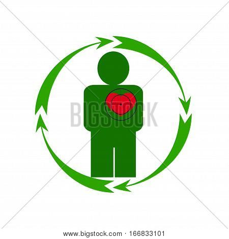 Vector illustration. The emblem logo. The human heart is in danger. Healthy lifestyle. Human. Four arrows around. Different colors.