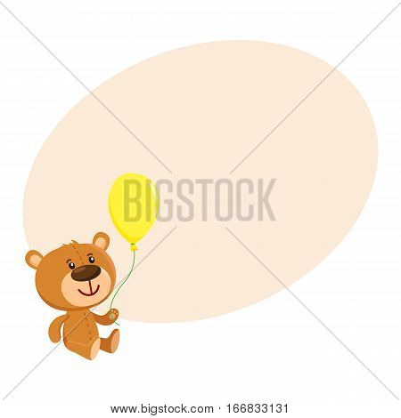 Cute retro style teddy bear character sitting and holding a yellow floating balloon, cartoon vector on background with place for text. Teddy bear character with yellow balloon