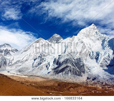 panoramic view of Mount Everest with beautiful sky and Khumbu Glacier - Khumbu valley - Nepal