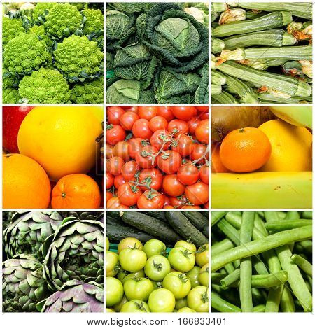 Collage of vegetables and fruits. Vegan diet. A collage of nine frames with fresh vegetables and fruits.