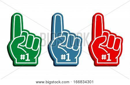 Colorful foam fingers vector set. Number one and best illustration