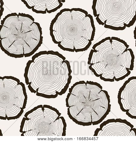 Vector tree rings cut trunk seamless pattern. Nature rough ring of trunk illustration