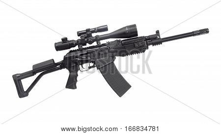 Kalashnikov AK machine gun. The weapon with a telescopic sight and a tactical laser flashlight poster