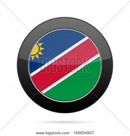 National flag of Namibia. Shiny black round button with shadow.