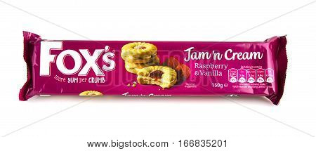 SWINDON UK - JANUARY 26 2017: Fox's Jam n Cream Raspberry and Vanilla Biscuits on a white background