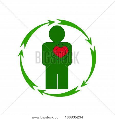 Vector illustration. The emblem logo. The human heart is in danger. Healthy lifestyle. Human. Five arrows in a circle. Different colors