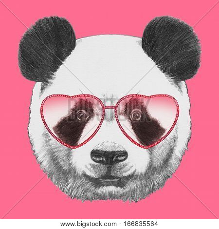 Panda in Love! Portrait of Panda with heart shaped sunglasses.  Hand-drawn illustration.