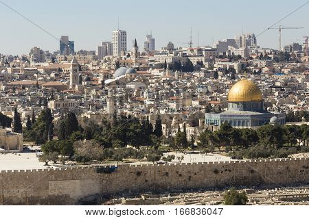 Old City of Jerusalem with Temple Mount and Dom of the Rock Israel