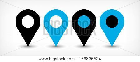 Map pin sign location icon with gray shadow in flat simple style. Four variants in two color black and blue rounded shapes isolated on white background. Vector illustration web design element 8 EPS