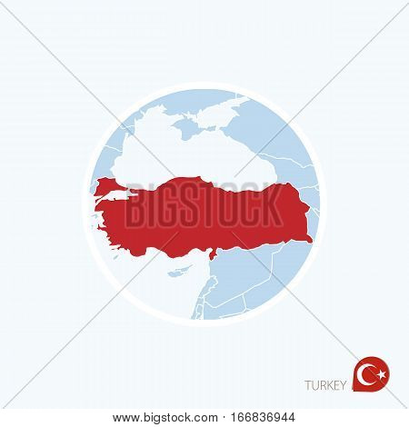 Map Icon Of Turkey. Blue Map Of Europe With Highlighted Turkey In Red Color.