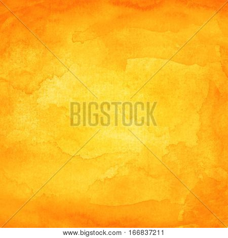 Orange abstract watercolor macro texture background. Colorful handmade technique aquarelle. Blank color backdrop painting in square size. Vector illustration graphic design element save in EPS 10