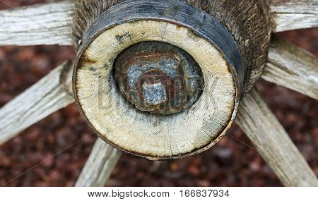 An Old Rusted Hub on a Vintage Wooden Wagon Wheel