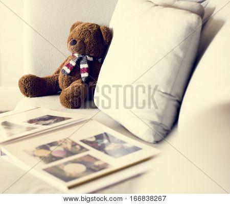 Sofa Bear Doll Leisure Photo Album Cozy