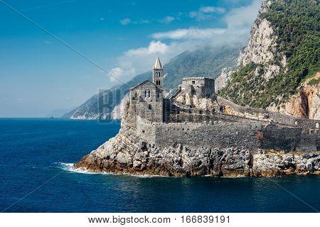 Beautiful Scenic Landscape Of Gothic St. Peter's Church In Portovenere