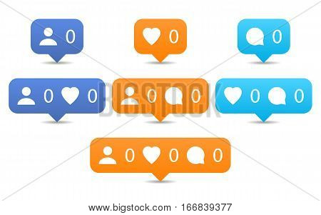 Like follow comment icons in flat style. Orange and blue notification tooltip with heart user speech bubble counter shadow on white background. Set 01. Vector illustration design element 8 eps