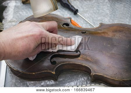 Hand of master wiping dust with disposable tissue from an old cracked violin filtered closeup shot