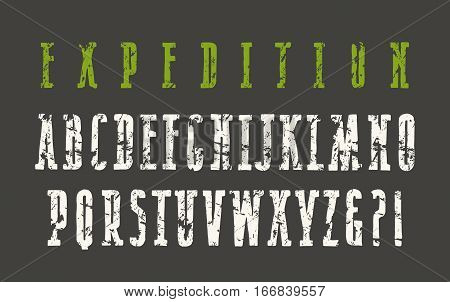 Narrow serif font in the style of hand-drawn graphics. Print on black background