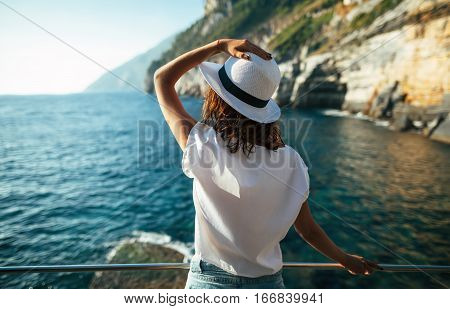 Young Beautiful Woman Relaxing In Scenic Landscape In Italy