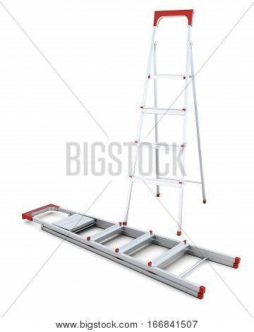 Pair Of Metal Step Ladders Isolated On White Background. 3D Rendering