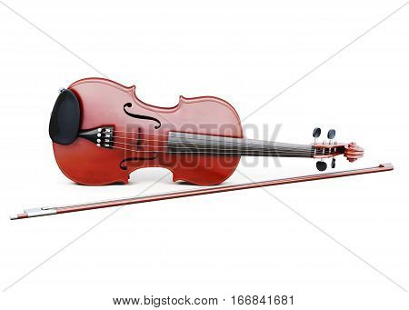 Violin And Bow Isolated On White Background. 3D Rendering