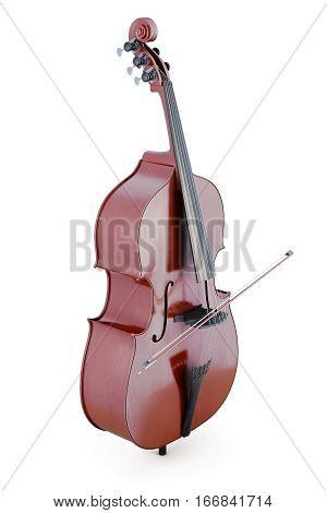 Double Bass Isolated On White Background. 3D Rendering