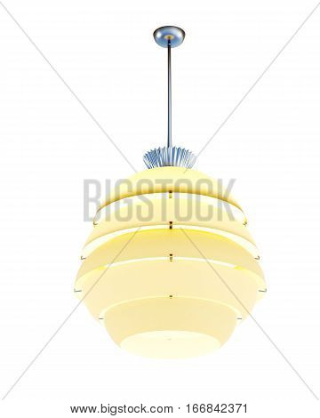 Hanging Lampshade Isolated On White Background. 3D Rendering