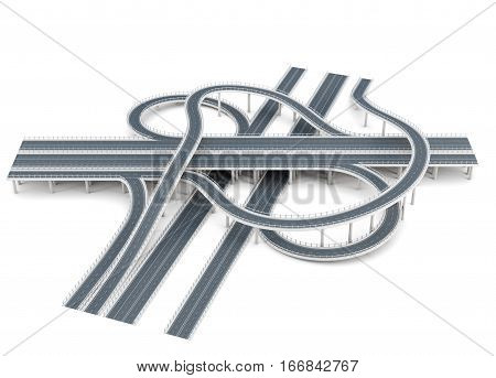 Road Junction Isolated On White Background. 3D Rendering