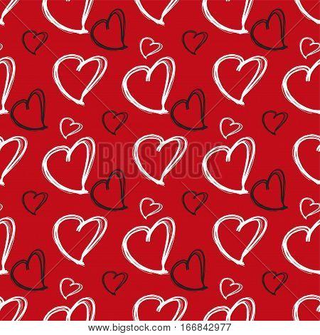 Romantic seamless pattern. Vector pattern with heart shape. Hand drawn pattern.