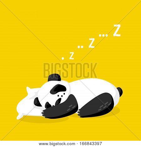 Cartoon sleeping panda on the pillow. Good night. Vector illustration
