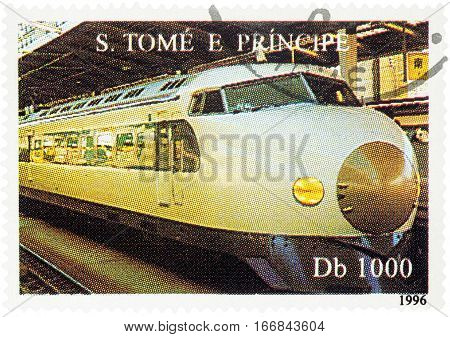 MOSCOW RUSSIA - January 26 2017: A stamp printed in Sao Tome and Principi shows high-speed train series