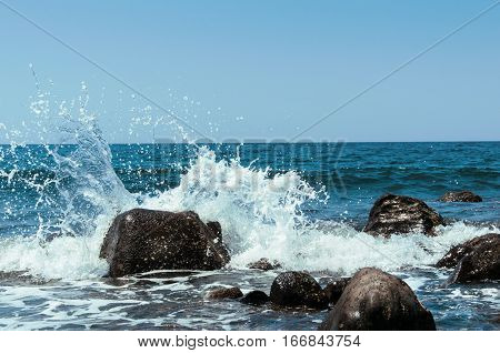 the waves on the beutiful beach in Bali