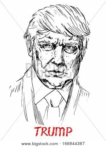Portrait of Donald Trump the President of America, drawn by hand vector illustration, simple lines drawing