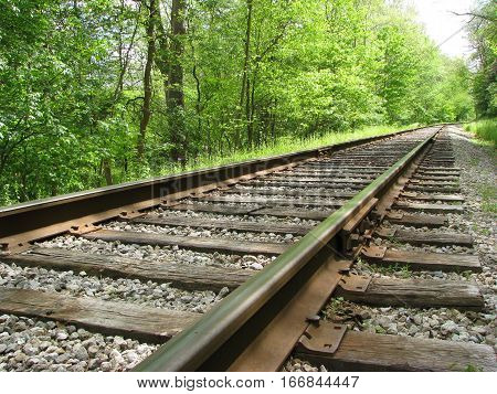 Railroad tracks at an angle on a summer day