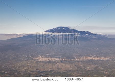 View to the volcano Mount Etna Sicily Italy