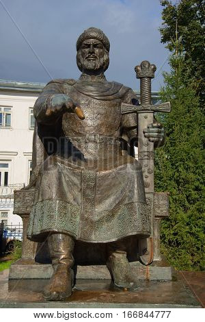 KOSTROMA, RUSSIA - SEPTEMBER 16, 2016: The monument to russian Prince Yuri Dolgoruky close up