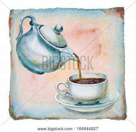 Tea being poured into tea cup on background old paper parchment