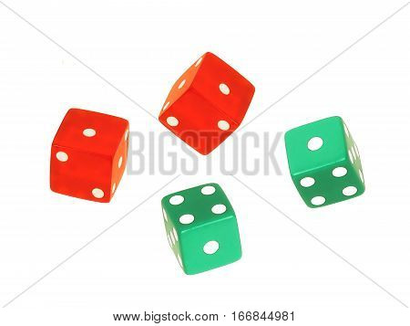 four green and red floating dice on white background
