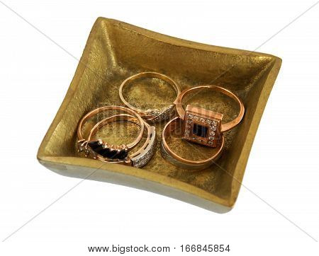 Antique bronze casket Diamond with Jewelry isolated on white background