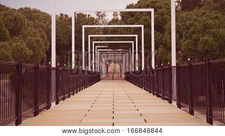 Bridge in a park. Vanishing point and empty copy space for Publisher's text.
