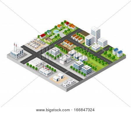 The 3D perspective view of a set of objects of industrial plants factories parking lots and warehouses. Isometric view from above the city with streets buildings and trees.