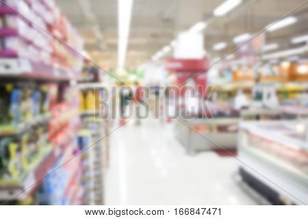 Supermarket abstract blur background. Shopping mall defocused photo for banner template or backdrop. Sale season blurry image. Shopping displays and shoppers in blur. Modern supermarket blurry picture